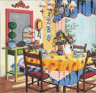 La Salle de Manger - Stitch Painted Needlepoint Canvas from Sandra Gilmore