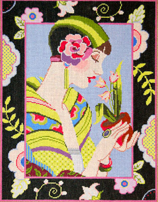 Camille - Stitch Painted Needlepoint Canvas from Sandra Gilmore