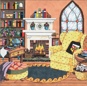 Literary Haven - Stitch Painted Needlepoint Canvas from Sandra Gilmore