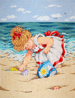 Becky - Stitch Painted Needlepoint Canvas from Sandra Gilmore