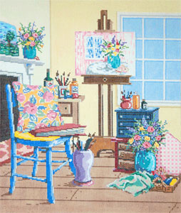 The Studio - Stitch Painted Needlepoint Canvas from Sandra Gilmore