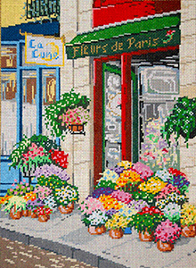 Fleurs de Paris (Paris Flowers)- Stitch Painted Needlepoint Canvas from Sandra Gilmore