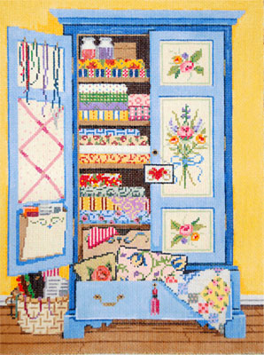 Armoire - Stitch Painted Needlepoint Canvas from Sandra Gilmore