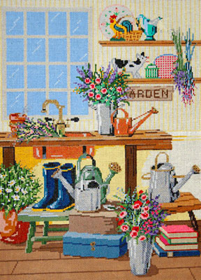The Flower Room - Stitch Painted Needlepoint Canvas
