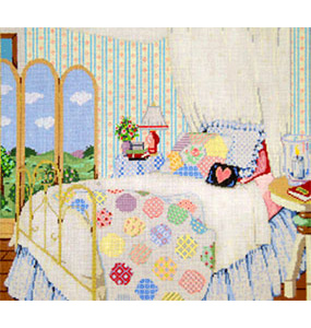 Grandma's Quilt - Stitch Painted Needlepoint Canvas from Sandra Gilmore