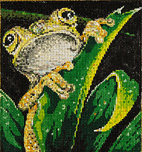 Froggy - Stitch Painted Needlepoint Canvas from Sandra Gilmore