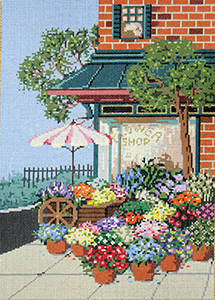 Flower Shop - Stitch Painted Needlepoint Canvas from Sandra Gilmore