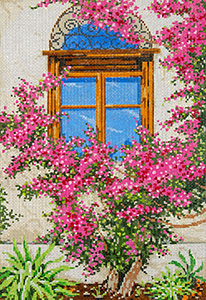 Bougainvillea - Stitch Painted Needlepoint Canvas from Sandra Gilmore