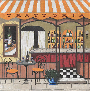 Trattoria - Stitch Painted Needlepoint Canvas from Sandra Gilmore
