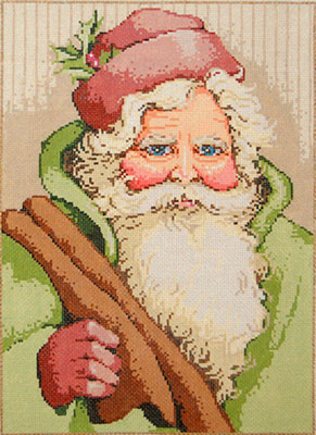 Vintage Santa - Stitch Painted Needlepoint Canvas from Sandra Gilmore