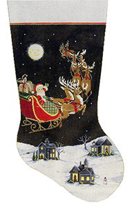 Dash Away All - Stitch Painted Needlepoint Christmas Stocking Canvas