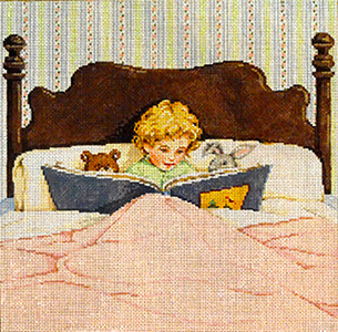 Bedtime Story - Stitch Painted Needlepoint Canvas from Sandra Gilmore