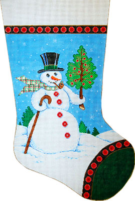 Buttoned Up - Stitch Painted Needlepoint Christmas Stocking Canvas