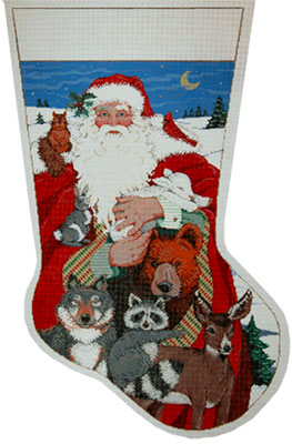 Beasts Needlepoint Christmas Stocking from Sandra Gilmore