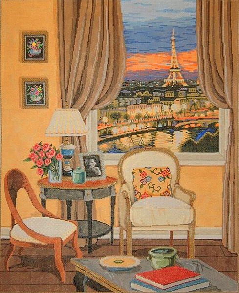 Parisian View - Stitch Painted Needlepoint Canvas from Sandra Gilmore