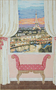 Paris Window - Stitch Painted Needlepoint Canvas from Sandra Gilmore