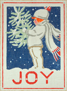 Winter Joy - Stitch Painted Needlepoint Canvas