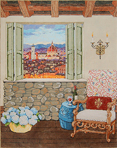 Firenze View (View of Florence) - Stitch Painted Needlepoint Canvas from Sandra Gilmore