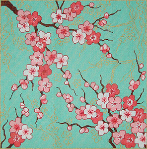 Cherry Blossoms - Stitch Painted Needlepoint Canvas from Sandra Gilmore