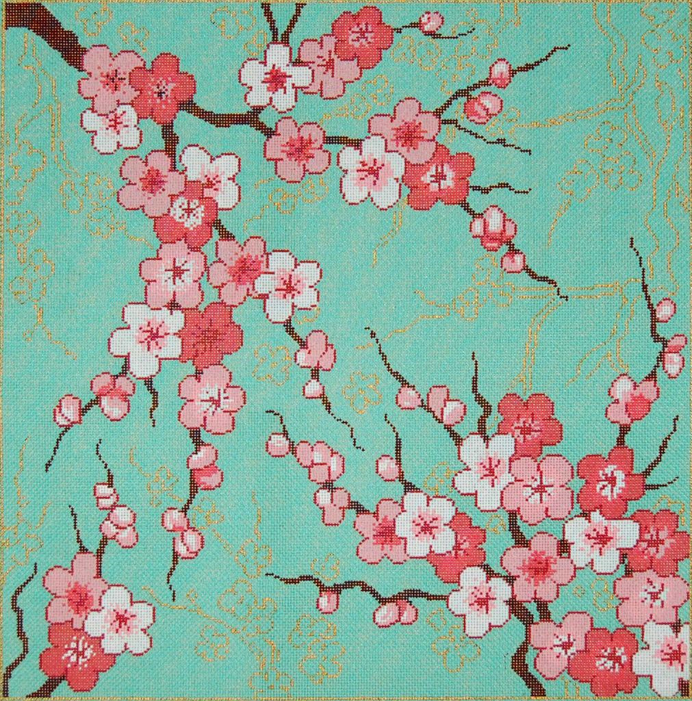 Needlepointus world class needlepoint cherry blossoms for Canvas painting of cherry blossoms