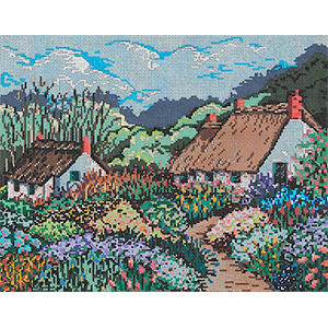 Careen's Cottage - Stitch Painted Needlepoint Canvas from Sandra Gilmore