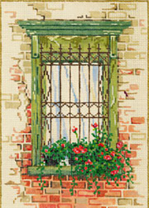 Fort Green - Stitch Painted Needlepoint Canvas from Sandra Gilmore