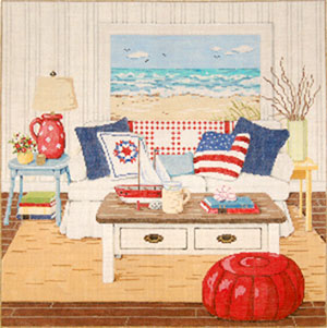 At the Seashore - Stitch Painted Needlepoint Canvas from Sandra Gilmore