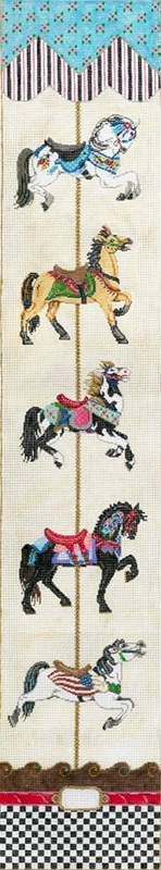 Carousel Bell Pull - Stitch Painted Needlepoint Canvas from Sandra Gilmore