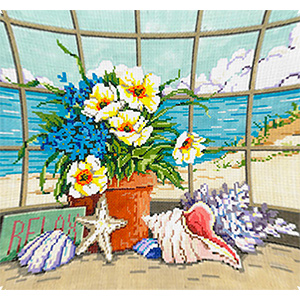 Shellscape - Stitch Painted Needlepoint Canvas from Sandra Gilmore