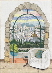 Jerusalem Window - Stitch Painted Needlepoint Canvas from Sandra Gilmore