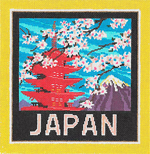 Japan - Stitch Painted Needlepoint Canvas from Sandra Gilmore