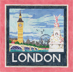 London - Stitch Painted Needlepoint Canvas from Sandra Gilmore