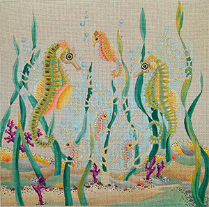 Seahorse Pillow - Hand Painted Needlepoint Canvas from dede's Needleworks