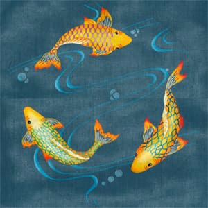 3 Koi Pond - Hand Painted Needlepoint Canvas from dede's Needleworks