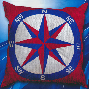 SEG de Paris Needlepoint Compass Quickpoint Cushion Kit
