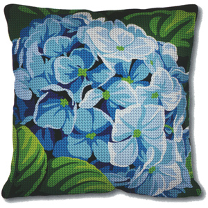 SEG de Paris Needlepoint Quickpoint Cushion Kit - Hortensias