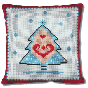SEG de Paris Needlepoint Quickpoint Cushion Kit - Christmas Tree