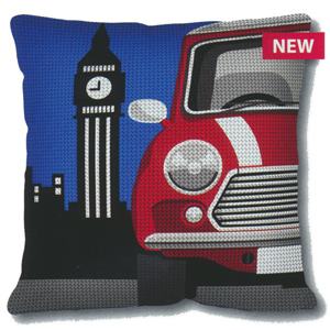 SEG de Paris Needlepoint Quickpoint Cushion Kit - London Cab (Taxi)