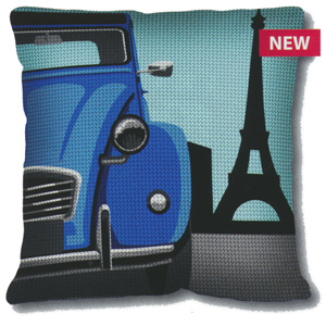SEG de Paris Needlepoint Quickpoint Cushion Kit - Paris Cab (Taxi)