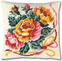 SEG de Paris Needlepoint Roses Quickpoint Cushion Kit
