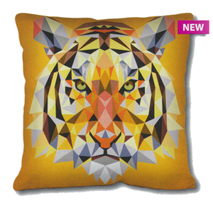 SEG de Paris Needlepoint Cushion Kit - Geometric Tiger