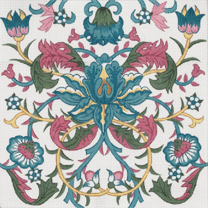 William Morris Teal Flower