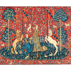 "Margot Creations de Paris Needlepoint - Tapestries - The Lady and the Unicorn ""Taste"" (Dame a la Licorne Le Gout)"