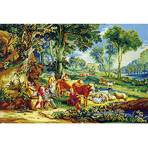Margot Creations de Paris Needlepoint - Tapestries - Le Joueur de Pipeau Scene de la vie Champetre (The Pipe Player)