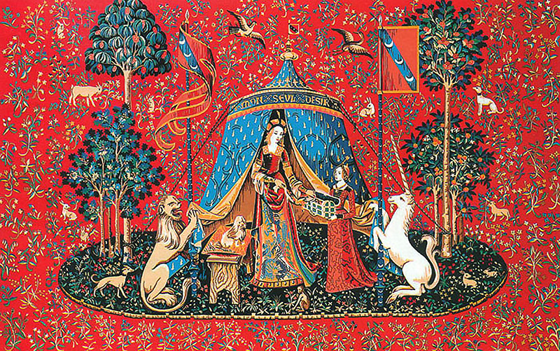 "Margot Creations de Paris Needlepoint - Tapestries - The Lady and the Unicorn ""My Sole Desire"""