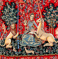 Margot Creations de Paris Needlepoint - Medium Needlepoint Canvases - Licorne (Detail from The Lady & the Unicorn - Unicorn)