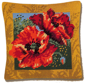 Margot Creations de Paris Needlepoint - Cushions - Coquelicots (Poppies)