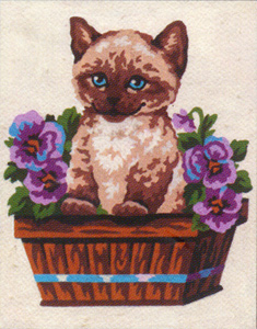 Kitten in Basket of Flowers  - Collection d'Art Needlepoint Canvas