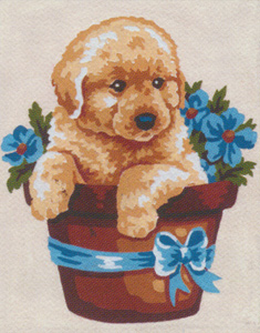 Puppy in Basket of Flowers  - Collection d'Art Needlepoint Canvas
