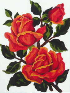 Red Roses  - Collection d'Art Needlepoint Canvas